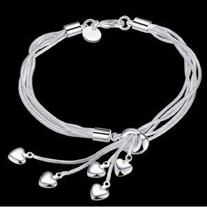 925 love heart pendant charm bracelet 6 pcs set